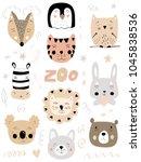 Stock vector scandinavian kids color doodles zoo elements set cartoon poster with faces of wild animals hand 1045838536