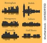 set of 6 city silhouette in...   Shutterstock .eps vector #1045839550