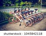 biicycle rent public bicycles ...   Shutterstock . vector #1045842118