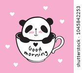 good morning. white cup and... | Shutterstock .eps vector #1045842253