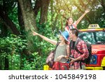 group of people hiking and... | Shutterstock . vector #1045849198