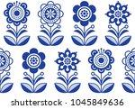 folk art flowers  seamless... | Shutterstock .eps vector #1045849636