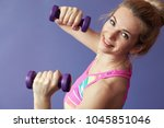 young blond fitness woman | Shutterstock . vector #1045851046