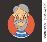 old man male grandfather doodle ... | Shutterstock .eps vector #1045860514