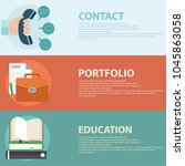 flat style business portfolio ... | Shutterstock .eps vector #1045863058