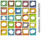 set of paper cut speech and... | Shutterstock .eps vector #1045869370