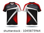soccer jersey template. red and ... | Shutterstock .eps vector #1045875964