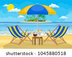 landscape of wooden chaise... | Shutterstock .eps vector #1045880518