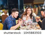 group of good looking people... | Shutterstock . vector #1045883503
