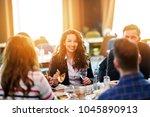 group of good looking people... | Shutterstock . vector #1045890913