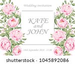 wedding invitation with peonies ... | Shutterstock .eps vector #1045892086