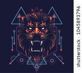 the lion sacred geometry | Shutterstock .eps vector #1045893796