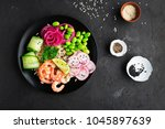 fresh seafood recipe. shrimp... | Shutterstock . vector #1045897639