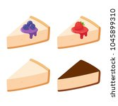 cheesecake slices set with... | Shutterstock .eps vector #1045899310