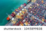 container ship in export and...   Shutterstock . vector #1045899838