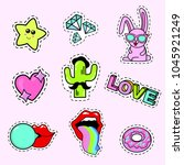 fashion patch badges with lips  ... | Shutterstock .eps vector #1045921249