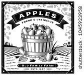retro apple harvest label with... | Shutterstock . vector #1045923958