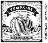 retro pumpkin harvest label... | Shutterstock . vector #1045923964