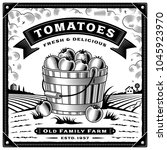 retro tomato harvest label with ... | Shutterstock . vector #1045923970