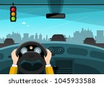 traffic light with city on... | Shutterstock .eps vector #1045933588