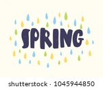 spring word handwritten with... | Shutterstock .eps vector #1045944850