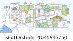 horizontal banner with hands... | Shutterstock .eps vector #1045945750