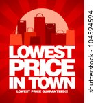 Lowest price in town, sale design with shopping bags. - stock vector