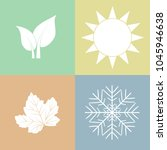 season  leaves  sun and snow in ... | Shutterstock .eps vector #1045946638
