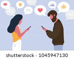 man and woman chatting online... | Shutterstock .eps vector #1045947130