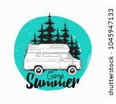 camper trailer  campervan or... | Shutterstock .eps vector #1045947133