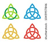 set of celtic triquetra knots.... | Shutterstock .eps vector #1045957846