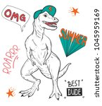 tyrannosaurus rex  dino with ... | Shutterstock .eps vector #1045959169