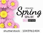 spring sale banner. pink... | Shutterstock .eps vector #1045961404