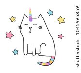 cat unicorn cute illustration  | Shutterstock .eps vector #1045965859