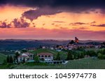 rural houses on the hill with... | Shutterstock . vector #1045974778