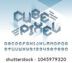 vector of cube alphabet letters ... | Shutterstock .eps vector #1045979320