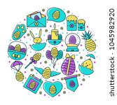 easter holiday round... | Shutterstock .eps vector #1045982920