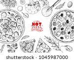italian pizza and ingredients... | Shutterstock .eps vector #1045987000