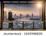 asian female tourists  she... | Shutterstock . vector #1045988830