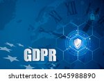 protection shield and icon lock ... | Shutterstock . vector #1045988890