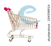 An isolated shopping cart providing online shopping. - stock photo