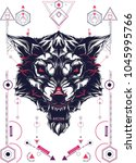 white wolf sacred geometry | Shutterstock .eps vector #1045995766