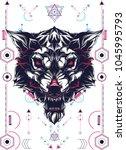 white wolf sacred geometry   Shutterstock .eps vector #1045995793