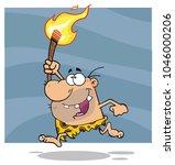 happy caveman cartoon character ... | Shutterstock .eps vector #1046000206
