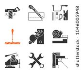 construction tools glyph icons... | Shutterstock .eps vector #1046005948