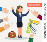 hands hold cv profile. success... | Shutterstock .eps vector #1046010970