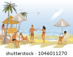 series of tropical backgrounds. ... | Shutterstock .eps vector #1046011270
