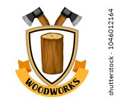 woodworks label with log and...   Shutterstock .eps vector #1046012164