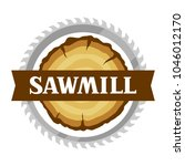 sawmill label with wood stump... | Shutterstock .eps vector #1046012170