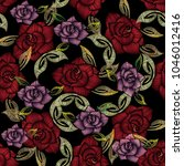 embroidery roses seamless... | Shutterstock .eps vector #1046012416
